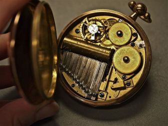 Pinned musical cylinder in a pocket watch