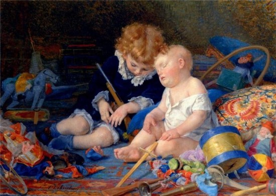 "Timoléon Lobrichon (1831-1914), Children asleep (I was for long, and for obvious reasons pretty sure it was untitled ""Battlefield"" !, 73 x 118.5 cm"