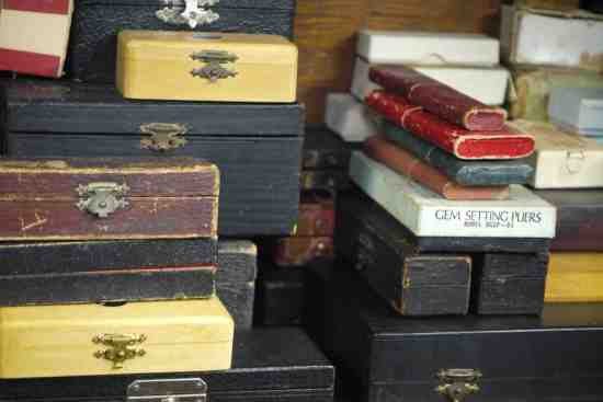 Antique watchmaking tools in their original boxes