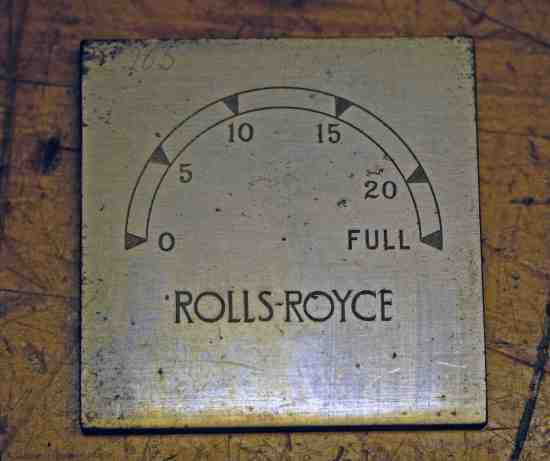 Single printing plate for Rolls Royce car clocks